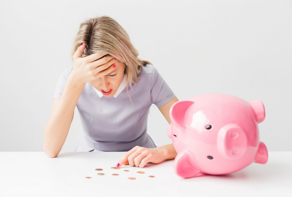 Woman with financial problem