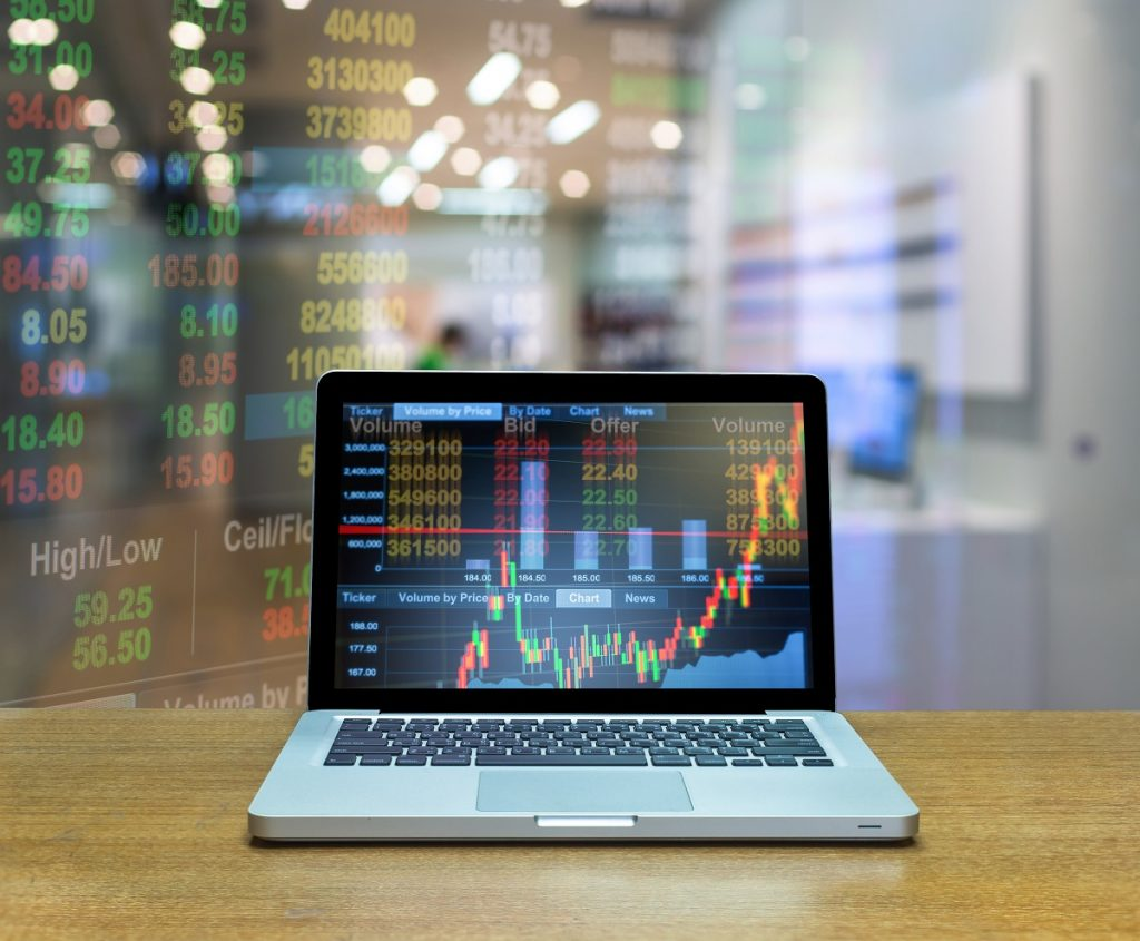 Laptop with stock exchange